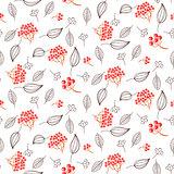 Rowan and leaves seamless white vector pattern.