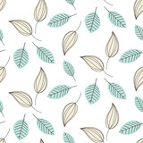 Doodle leaves seamless vector pattern.