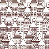 Outline coloring cityscape seamless pattern.