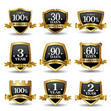 Vector set of 100 percent guarantee golden labels