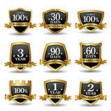 Vector set of 100 percent guarantee golden labels