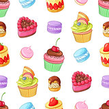 Assorted colorful desserts, cupcakes and macaroons. Seamless vector pattern.