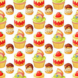 Colorful desserts and pastry seamless vector pattern on white background.