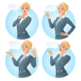 Vector set of cartoon business formal dressed woman in different poses with various speech bubbles.