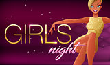 Girls night banner. Beautiful glamorous young woman sitting in night club lounge. Vector illustration on dark background.