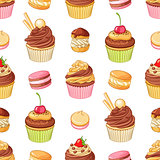 Various bright colorful chocolate desserts . Seamless vector pattern on white background.
