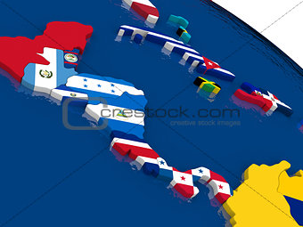 Central America on 3D map with flags