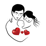 family heart icon, symbol parents sketch of lovely young married couple hugging little child vector illustration