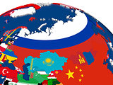 Russia on 3D map with flags