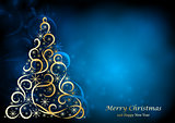 Absrtact Floral Christmas Tree Background,