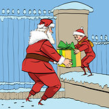 Santa Claus gives the boy a box of gifts