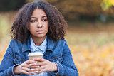 Sad Mixed Race African American Teenager Woman
