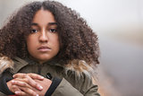 Sad Mixed Race African American Teenager Woman