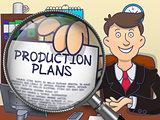Production Plans through Magnifier. Doodle Style.