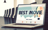 Landing Page of Laptop with Best Movie Concept. 3D.