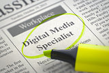 We are Hiring Digital Media Specialist. 3D.