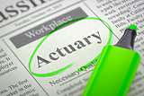 Job Opening Actuary. 3D.