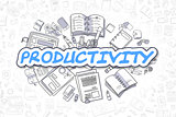Productivity - Cartoon Blue Text. Business Concept.