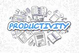 Productivity - Cartoon Blue Text. Business Concept.