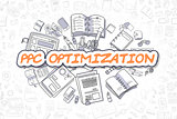 PPC Optimization - Doodle Orange Text. Business Concept.