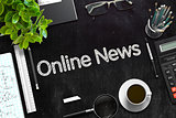 Online News Handwritten on Black Chalkboard. 3D Rendering.