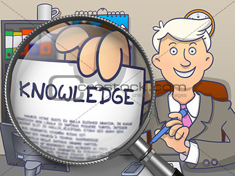 Knowledge through Magnifying Glass. Doodle Design.