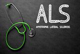 ALS on Chalkboard. 3D Illustration.