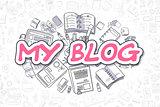 My Blog - Doodle Magenta Text. Business Concept.