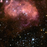 Young stars and gas clouds in the Large Magellanic Cloud.