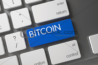 Blue Bitcoin Button on Keyboard. 3D.