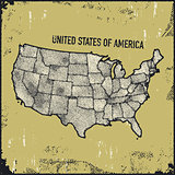 Retro distressed insignia with US map.
