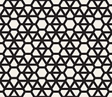Vector Seamless Black And White Geometric Triangle Grid Pattern