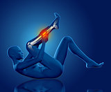 3D female medical figure holding lower leg in pain