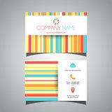 Striped colourful business card design
