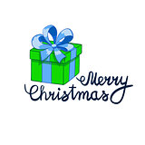 vector illustration of Merry Christmas Lettering with cartoon drowing green present. Element for design banners, web and greetings