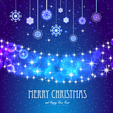 Elegant Christmas background with snowflakes, stars and place for text.