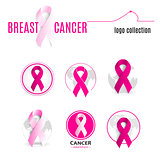 Isolated pink color ribbon in a circle logo set. Against cancer round shape logotype collection. Stop disease symbol. International worldwide breast  week. Medical sign. Vector illustration.