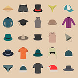 A set of clothes and hats, vector illustration.
