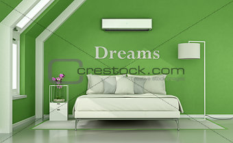 Green bedroom in the attic