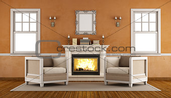 Classic fireplace in a retro living room