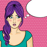 Pop art  woman . Comic woman with speech bubble