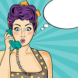 Pop art  woman chatting on retro phone . Comic woman with speech