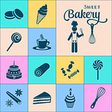 Bakery and sweets silhouette icons collection