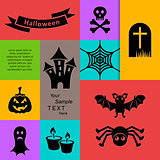 Black scary halloween silhouette icons