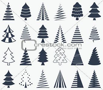 Black vector abstract christmas tree icons