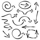 Black vector hand drawn arrows collection