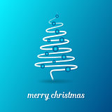 Blue vector card with christmas tree
