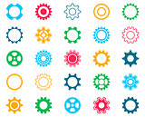 Collection of colorful gear wheel icons
