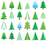 Colorful vector abstract christmas tree icons