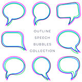 Creative colorful outline speech bubbles collection